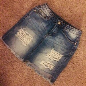 FASHION NOVA DENIM DESTROYED SKIRT